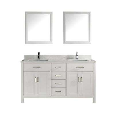 Kalize 63 in. Vanity in White with Solid Surface Marble Vanity Top in White and Mirror