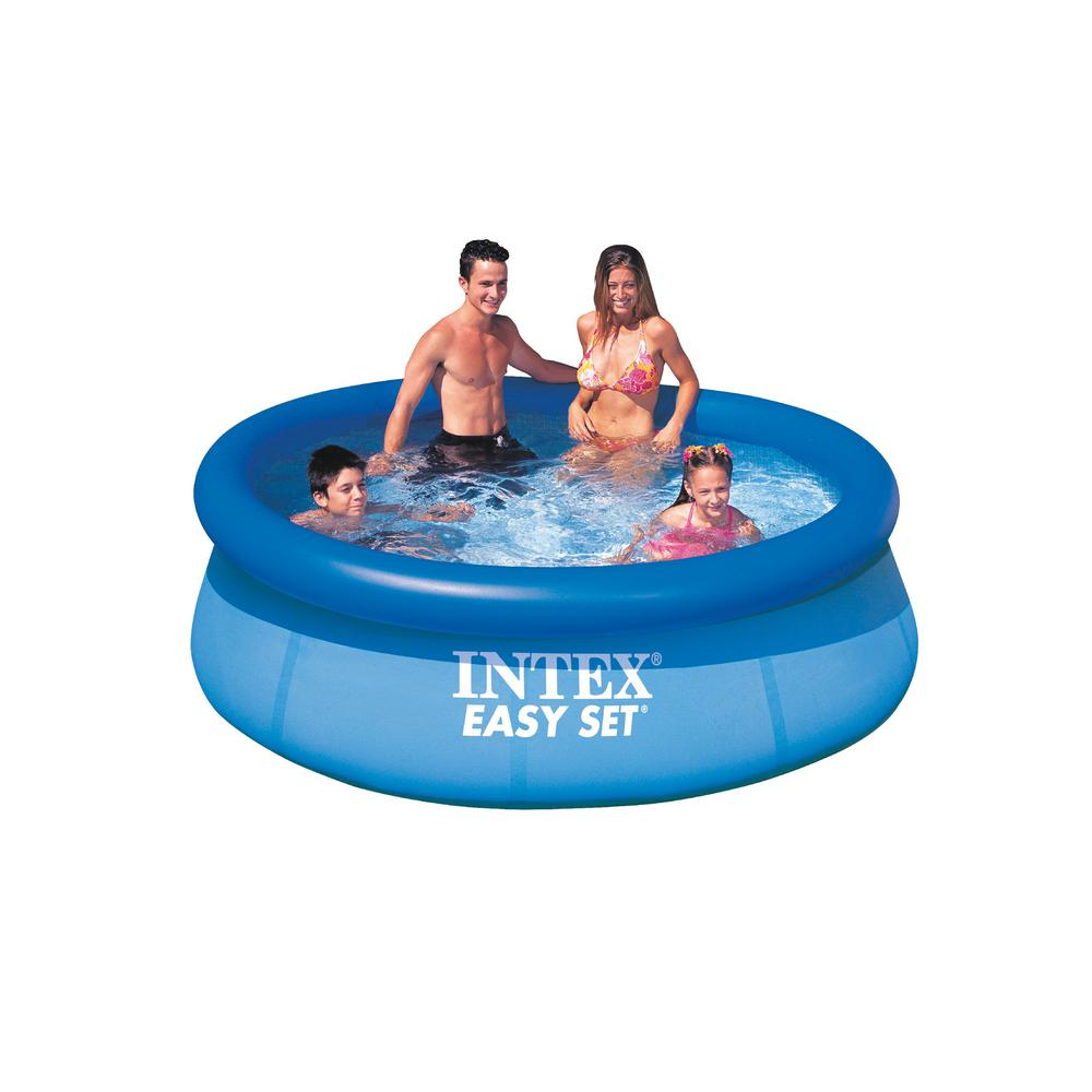intex 8 ft x 2 5 ft deep round easy set inflatable pool 28111eh the home depot