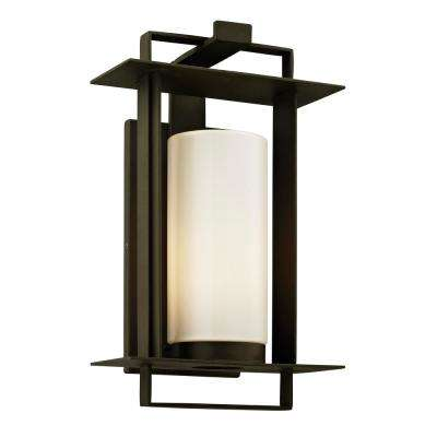 Kendrick 1-Light Bronze 14.75 in. H Outdoor Wall Mount Sconce with Opal White Glass