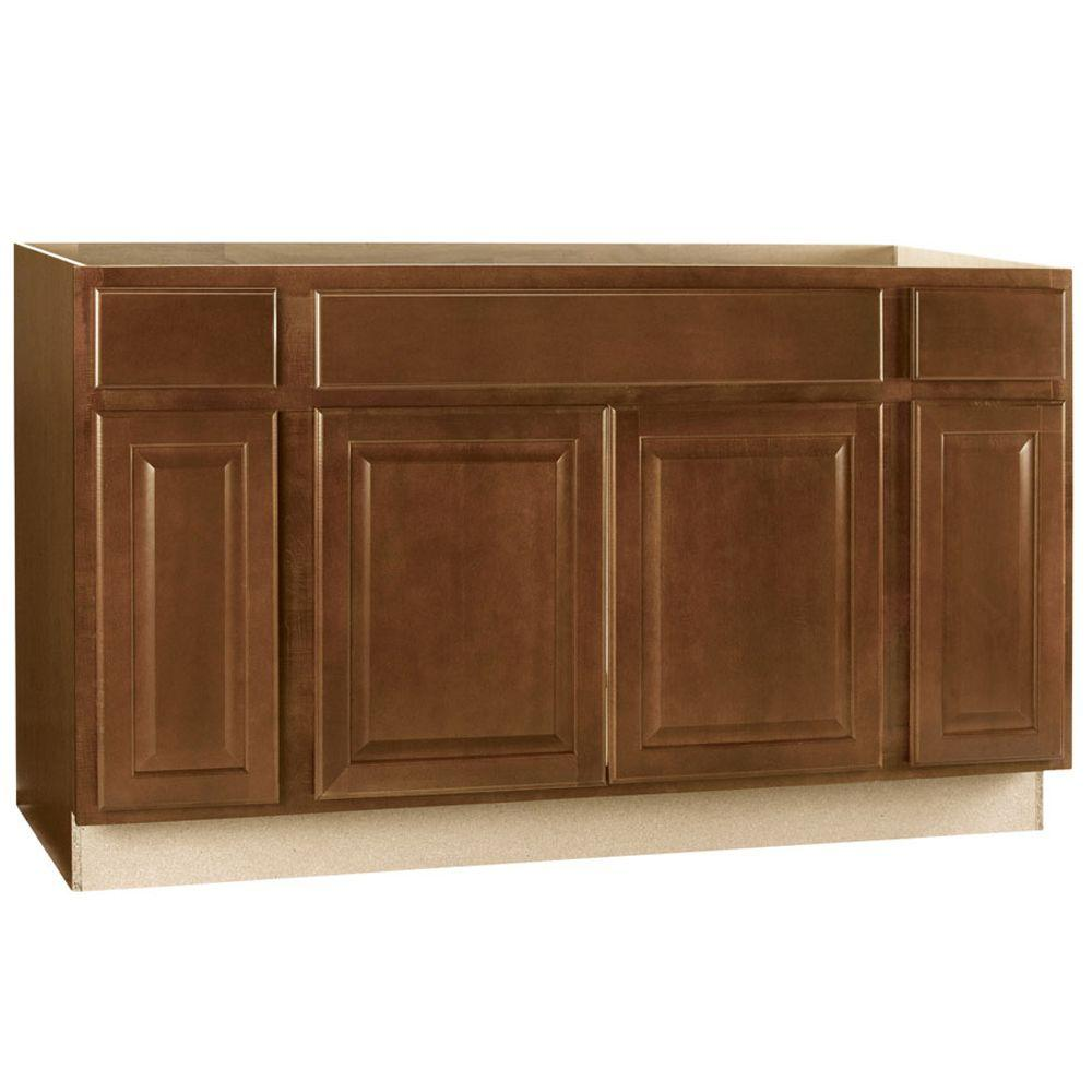 Hampton Bay Hampton Assembled 60x34.5x24 in. Sink Base Kitchen Cabinet in Cognac