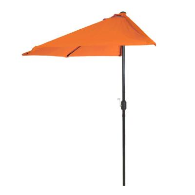 9 ft. Half Round Patio Umbrella in Orange