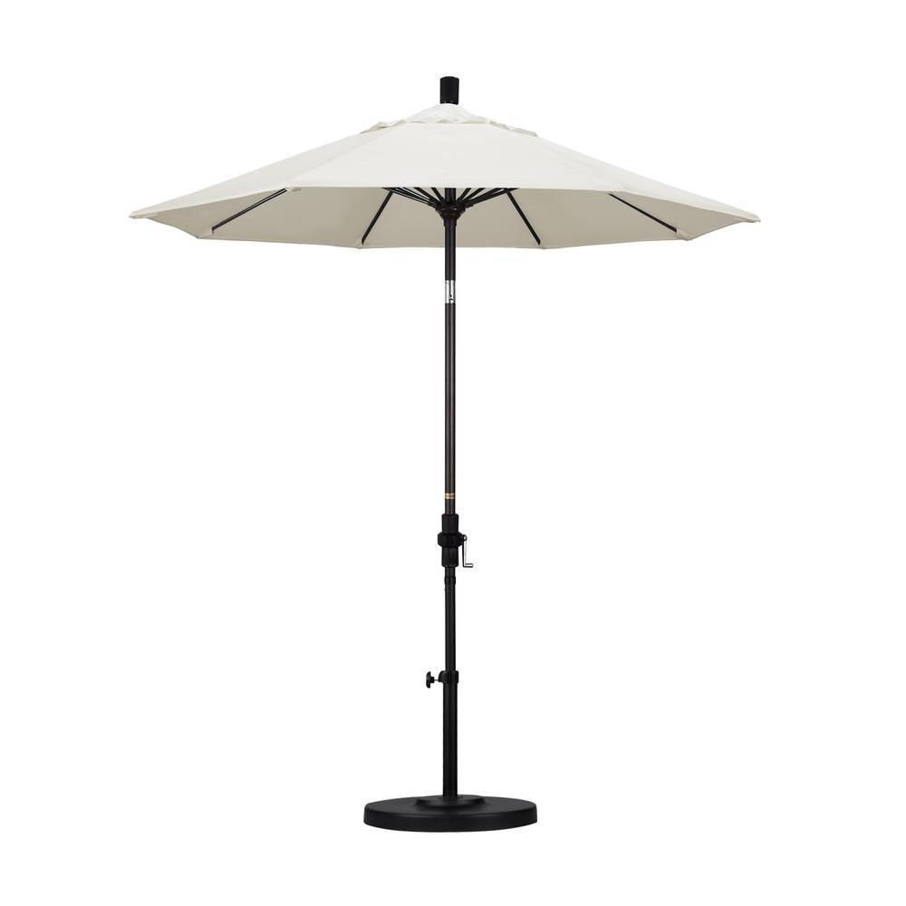 7-1/2 ft. Fiberglass Collar Tilt Patio Umbrella in White Olefin