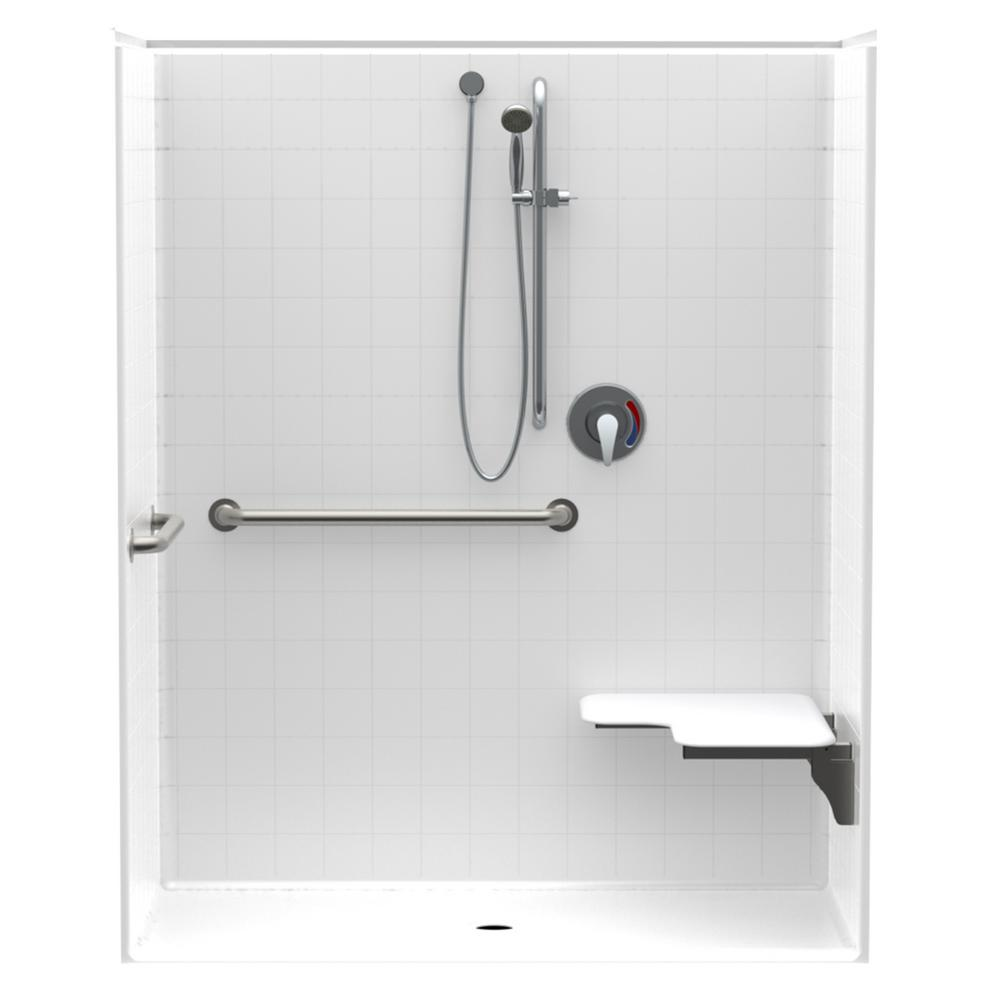 Accessible Smooth Tile AcrylX ANSI Configured 60in. x 30in. x 74