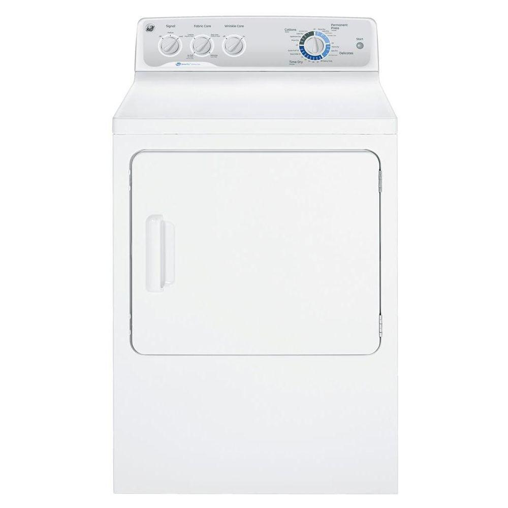 GE 27 in. W 7 cu. ft. DuraDrum Gas Dryer with HE SensorDry in White