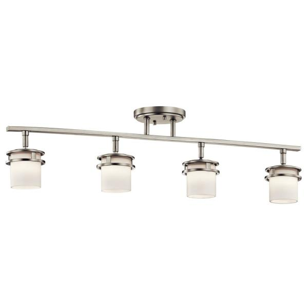 Hendrik 2.5 ft. 4-Light Brushed Nickel Track Lighting Kit with Satin Etched Cased Opal