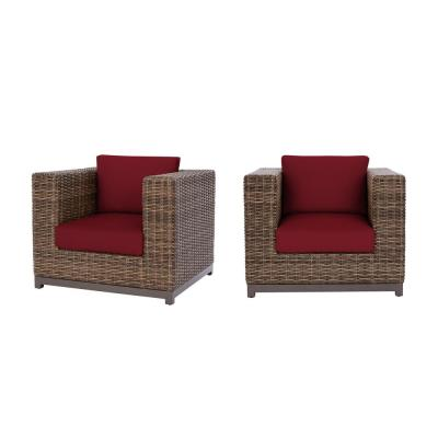 Fernlake Taupe Wicker Outdoor Patio Stationary Lounge Chair with CushionGuard Chili Red Cushions (2-Pack)