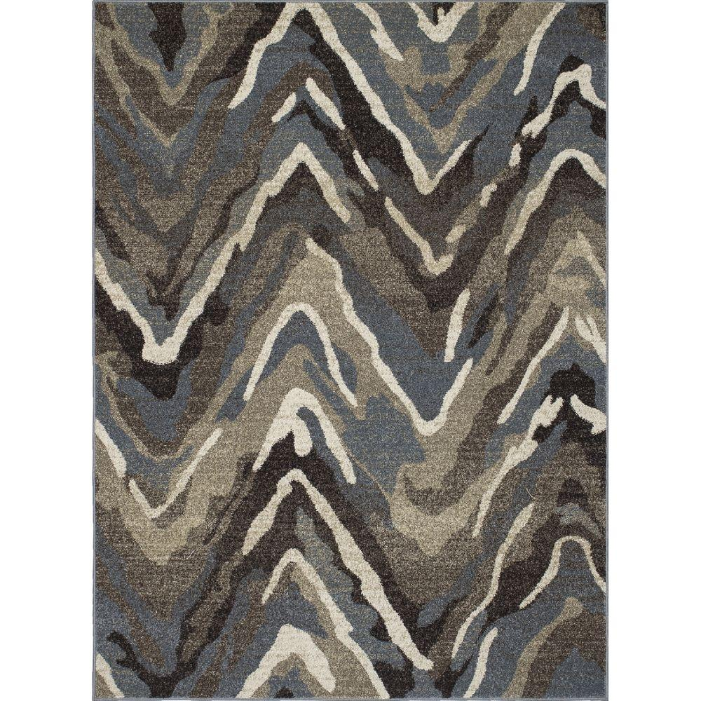 New Casa Waves Blue/Brown 6 ft. 7 in. x 9 ft.