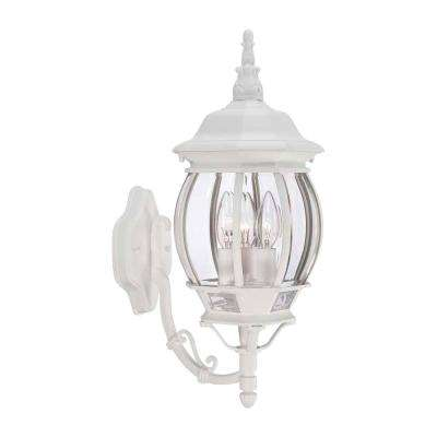 3 Light White Outdoor Wall Lantern Sconce