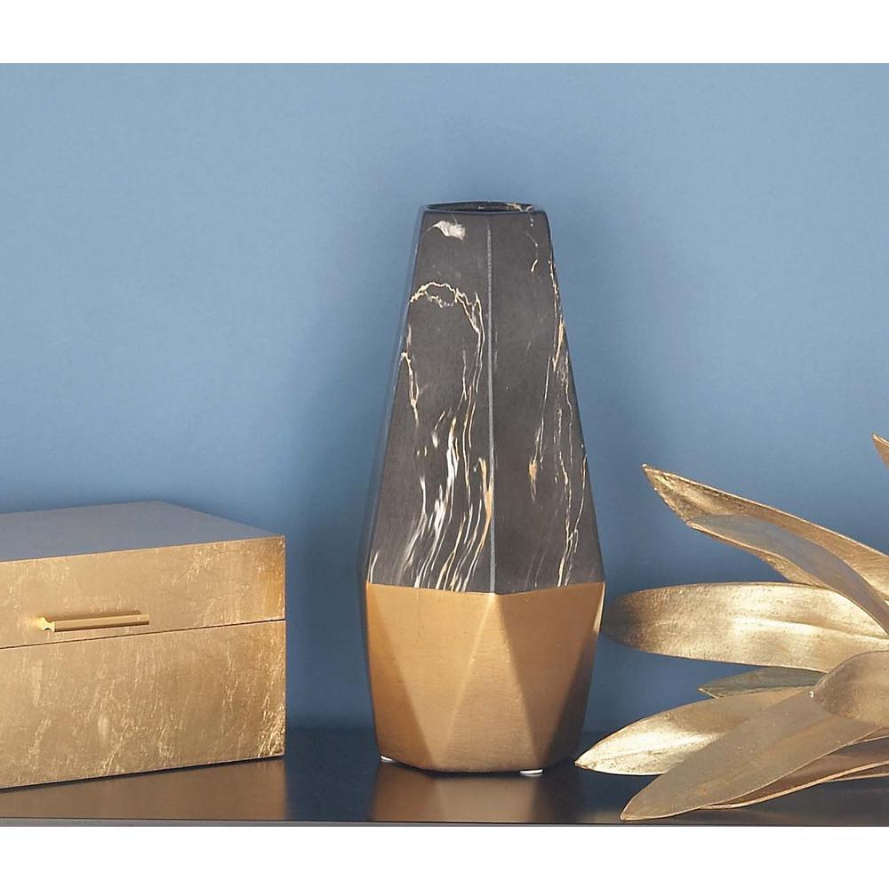 14 in. x 7 in. Ceramic Black and Gold Vase