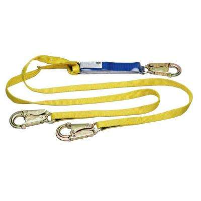 Upgear 6 ft. DeCoil Twinleg Lanyard (DCELL Shock Pack, 1 in. Web, Snap Hook)