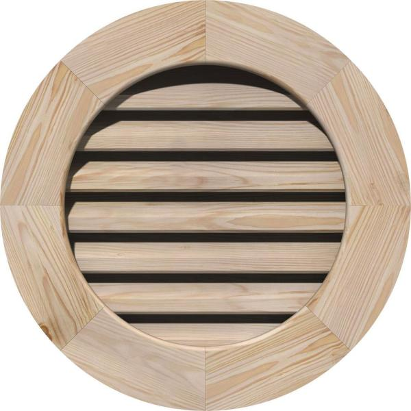 Ekena Millwork 33 In X 33 In Round Unfinished Smooth Pine Wood Paintable Gable Louver Vent Gvwro28x2800sfupi The Home Depot