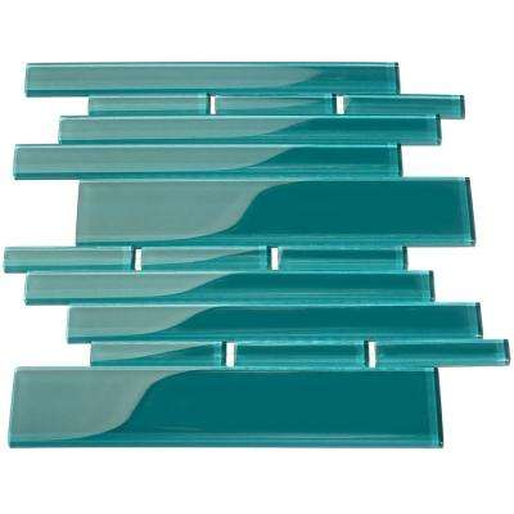 Dark Teal Rectangular Brick 9.5 in. x 10.5 in. x 8mm Glass Backsplash and Wall Tile (7.5 sq. ft. / case)
