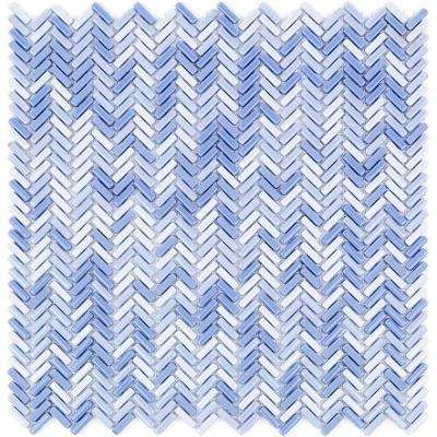 Recoup Herringbone Azure Glass Mosaic Floor and Wall Tile - 3 in. x 6 in. x 6 mm Tile Sample