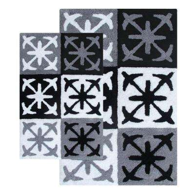 Columbia 21 in. x 34 in. and 27 in. x 45 in. 2-Piece Bath Rug Set in Black and White