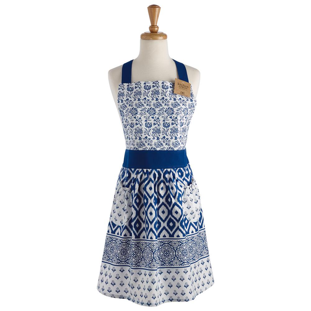 Design Imports Blue Tunisia Printed Apron-COSD39038 - The Home Depot