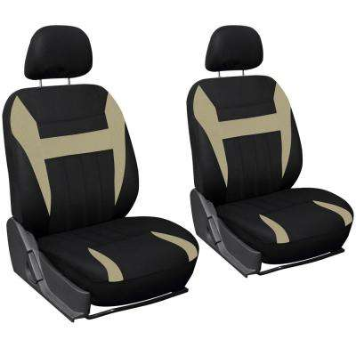 26 in. L x 21 in. W x 48 in. H 6-Piece Seat Cover Set in Beige and Black