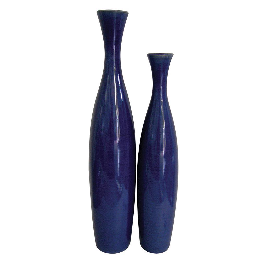 The howard elliott collection cobalt blue glaze ceramic tall the howard elliott collection cobalt blue glaze ceramic tall decorative vases set of 2 reviewsmspy