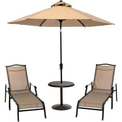 Monaco 3-Piece Aluminum Outdoor Conversation Set with 2 Sling Chaise Lounge Chairs, Cast-Top Table, and 9 ft. Umbrella