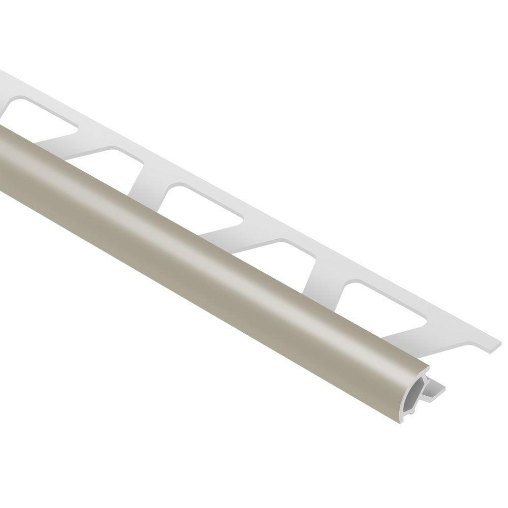 Schluter Rondec Grey 3/8 in. x 8 ft. 2-1/2 in. PVC Bullnose Tile Edging Trim