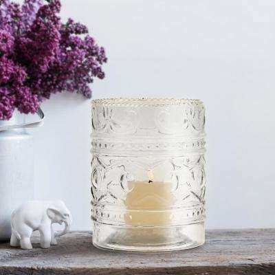 5 in. Clear Glass Embossed Votive Candle Holder