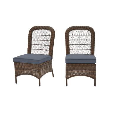 Beacon Park Brown Wicker Outdoor Patio Armless Dining Chair with CushionGuard Steel Blue Cushions (2-Pack)