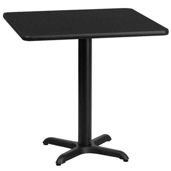 30 in. Square Black Laminate Table Top with 22 in. x 22 in. Table Height Base