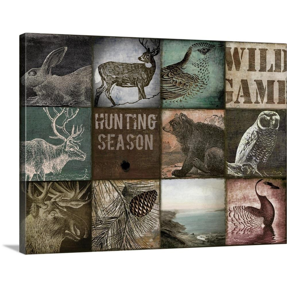 GreatBigCanvas 40 in. x 30 in.  Cabelas  by Color Bakery Canvas Wall Art, Multi-Color Premium Thick-Wrap Canvas entitled Cabelas. Our proprietary canvas provides a classic and distinctive texture. It is acid free and specially developed for our giclee print platforms. Each print is produced with our own archival UV quality inks supporting a vibrant color gamut, while being scratch and fade resistant. Each premium canvas gallery wrap is finished with a closed back preventing dust collection inside the back of the wrap. The back includes a pre-installed, ready-to-hang sawtooth hardware. Color: Multi-Color.
