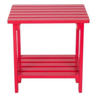 Tomato Red Rectangular Wood Side Table