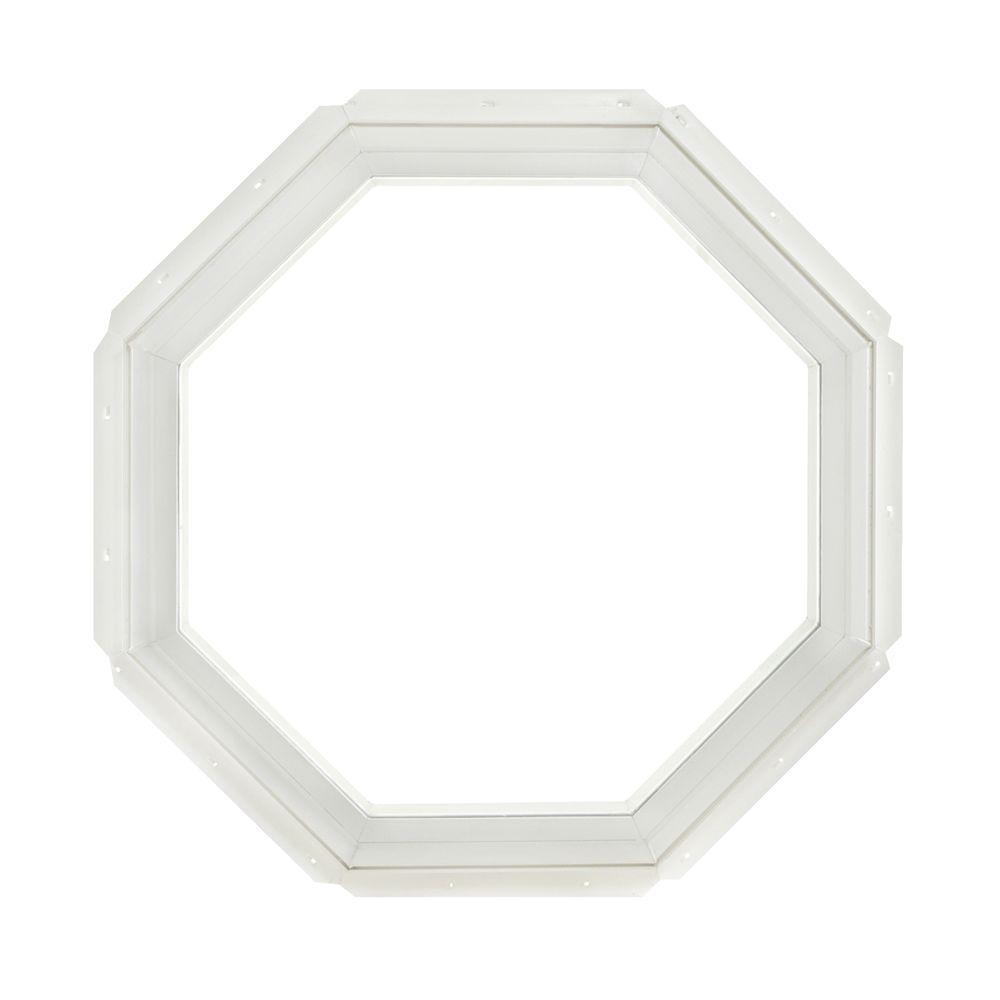 22.25 in. x 22.25 in. Fixed Octagon Geometric Vinyl Window - White
