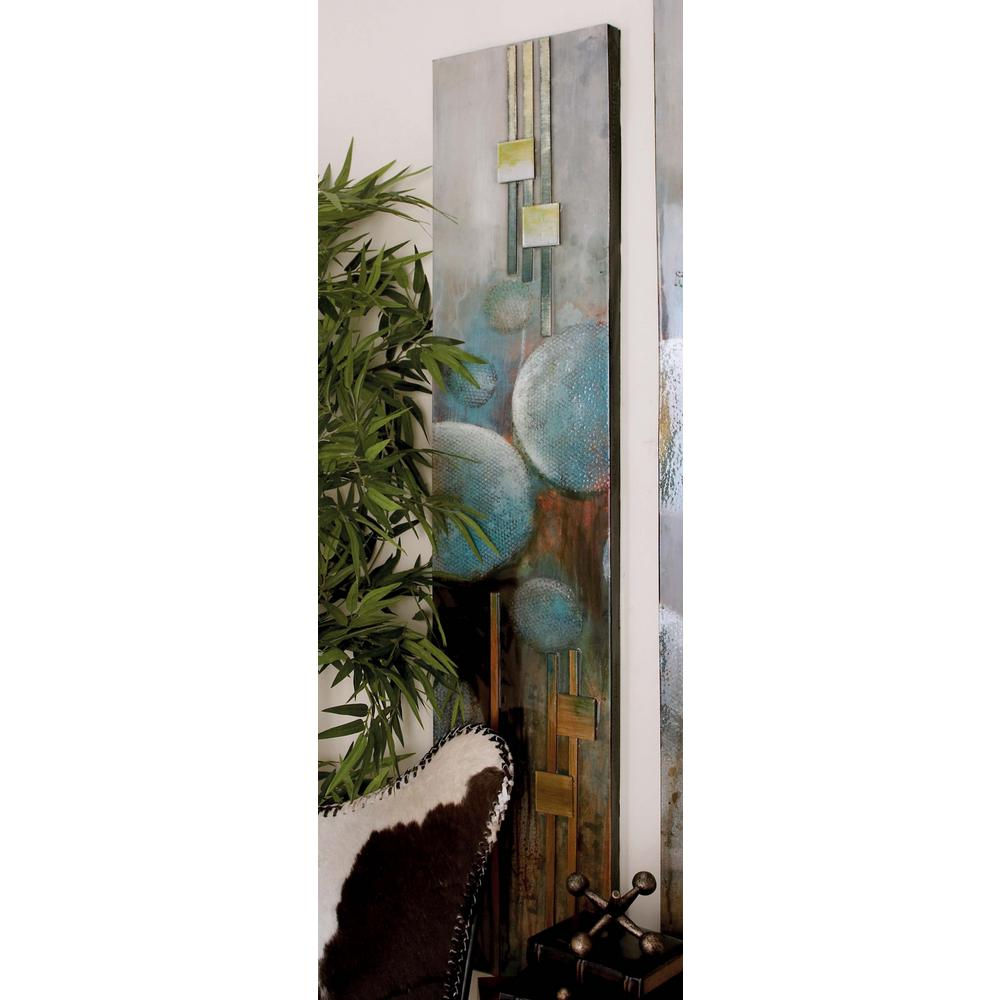 65 in. x 14 in. Abstract Balls and Squares Painted Framed