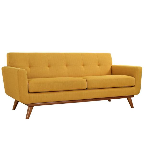 Engage 78 in. Citrus Polyester 2-Seater Loveseat with Wood Legs