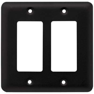 Stamped Round Decorative Double Rocker Switch Plate, Flat Black