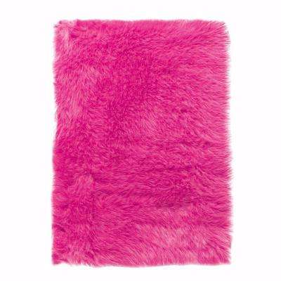 Faux Sheepskin Hot Pink 11 ft. x 16 ft. Area Rug