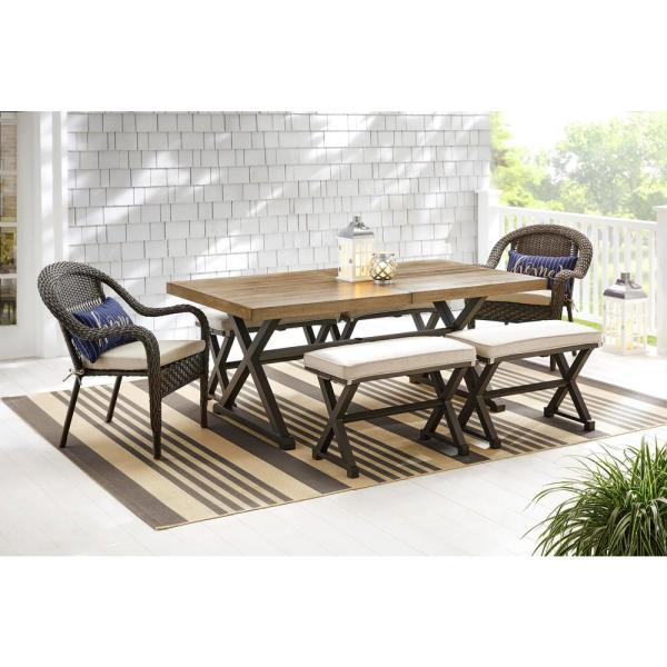 Hampton Bay Mix And Match 72 In Rectangular Metal Outdoor Dining Table With Farmhouse Trestle Base And Tile Tabletop 3038 Dt7 The Home Depot