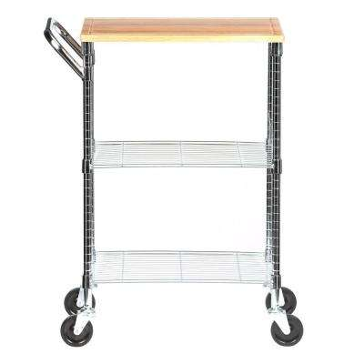 2-Shelf Steel Wire Rolling Chopping Block Cart with Handle In Chrome