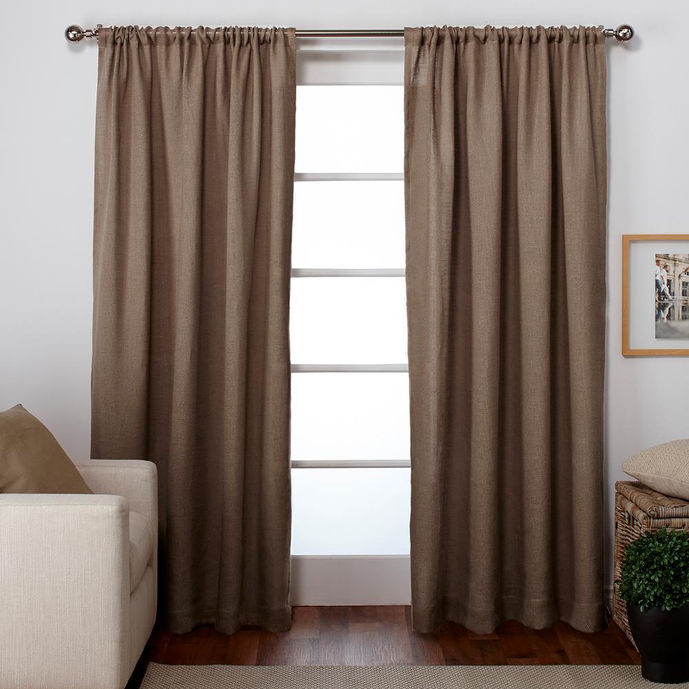 Burlap Natural Rod Pocket Top Window Curtain