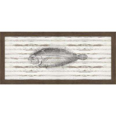 """22 in. x 10 in. """"Flounder on Driftwood"""" Framed Giclee Print Wall Art"""