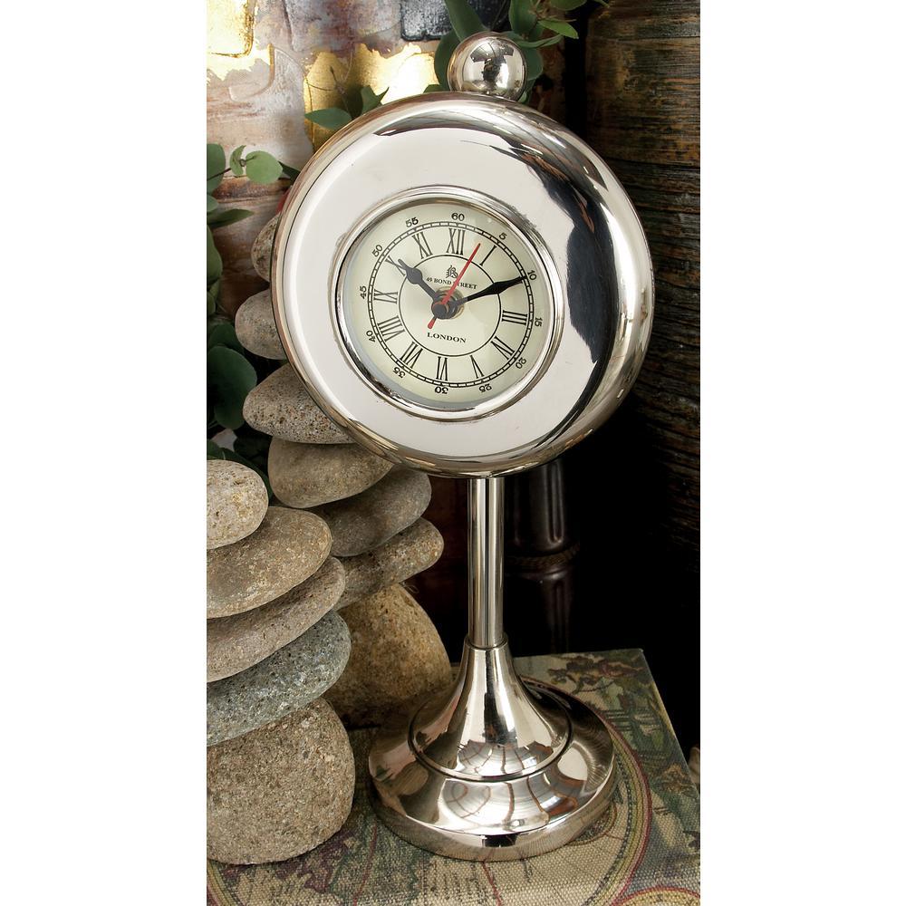 13 in. x 6 in. White Aluminum Round Table Clock