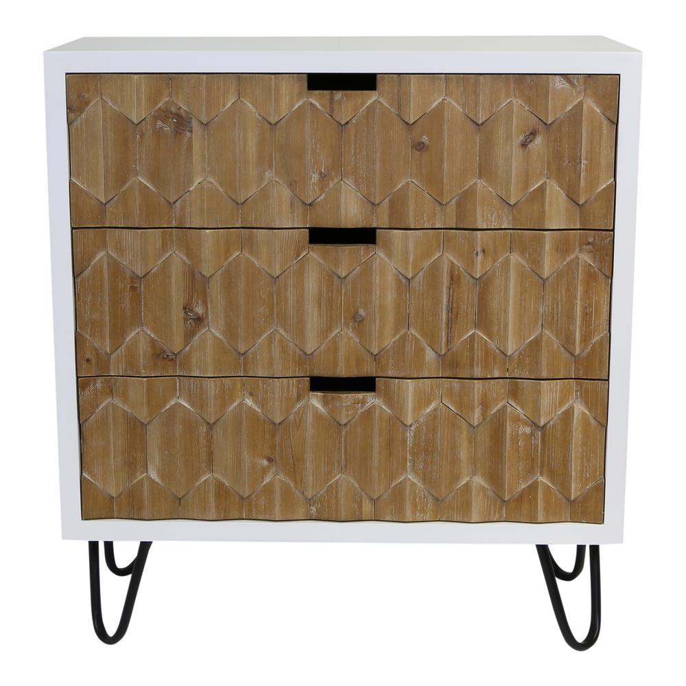 Minimalist White Wooden 3-Drawer Chest