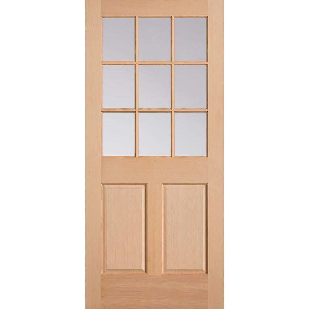 Masonite 36 in. x 80 in. 9 Lite 2-Panel Unfinished Fir Wood Front Exterior Door Slab