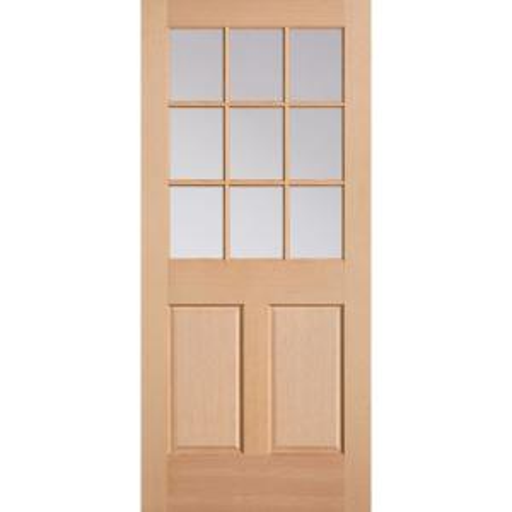 36 in. x 80 in. 9 Lite 2-Panel Unfinished Fir Wood Front Exterior Door Slab