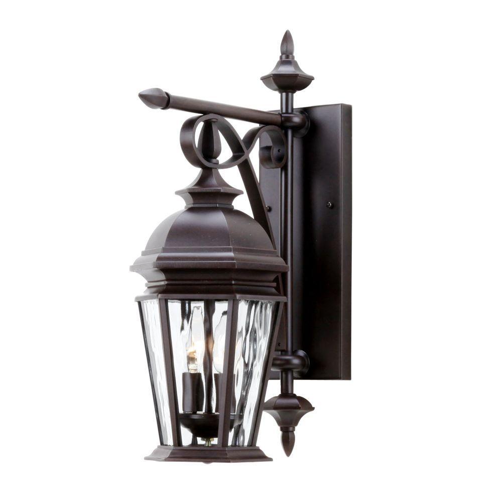 Hampton Bay Georgetown 2 Light Bronze Outdoor Wall Lantern Cil1692m The Home Depot