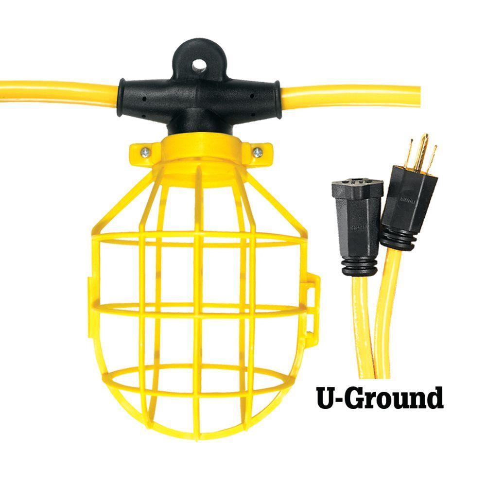 100 ft. 12/3 SJTW 10-Light Plastic Cage Light String - Yellow