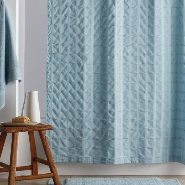 The Company Store Organic Cotton 72 in. Spa Blue Shower Curtain
