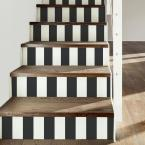 RoomMates 28.18 sq. ft. Awning Stripe Black Peel and Stick Wallpaper