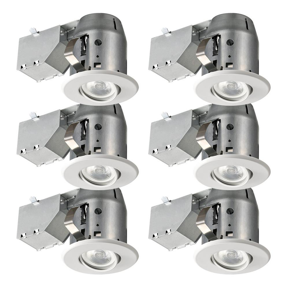 Globe Electric Led Directional 3 In White Recessed Kit 6 Pack