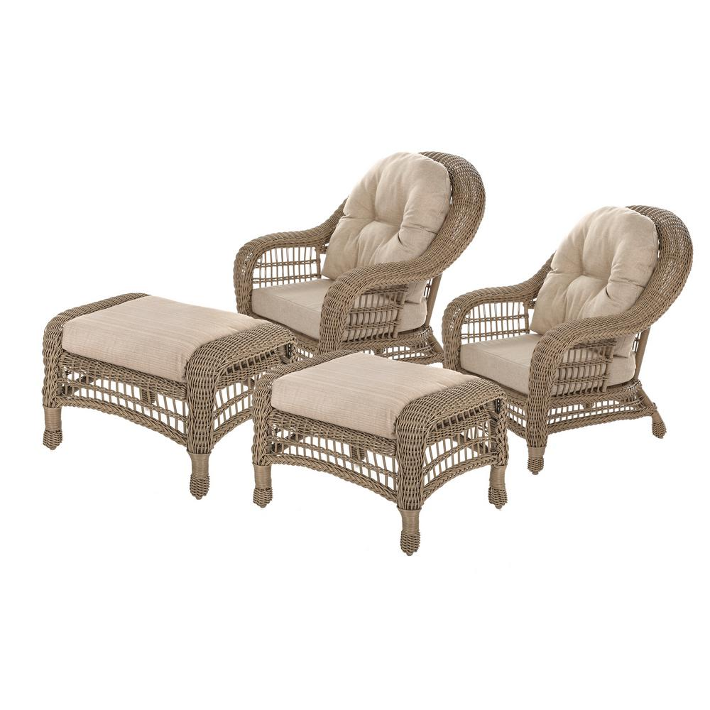W Unlimited Saturn Collection 4-Piece Wicker Patio Conversation Set with Beige Cushions