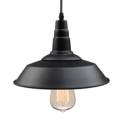 1-Light Black Indoor Ceiling Barn Pendant Light