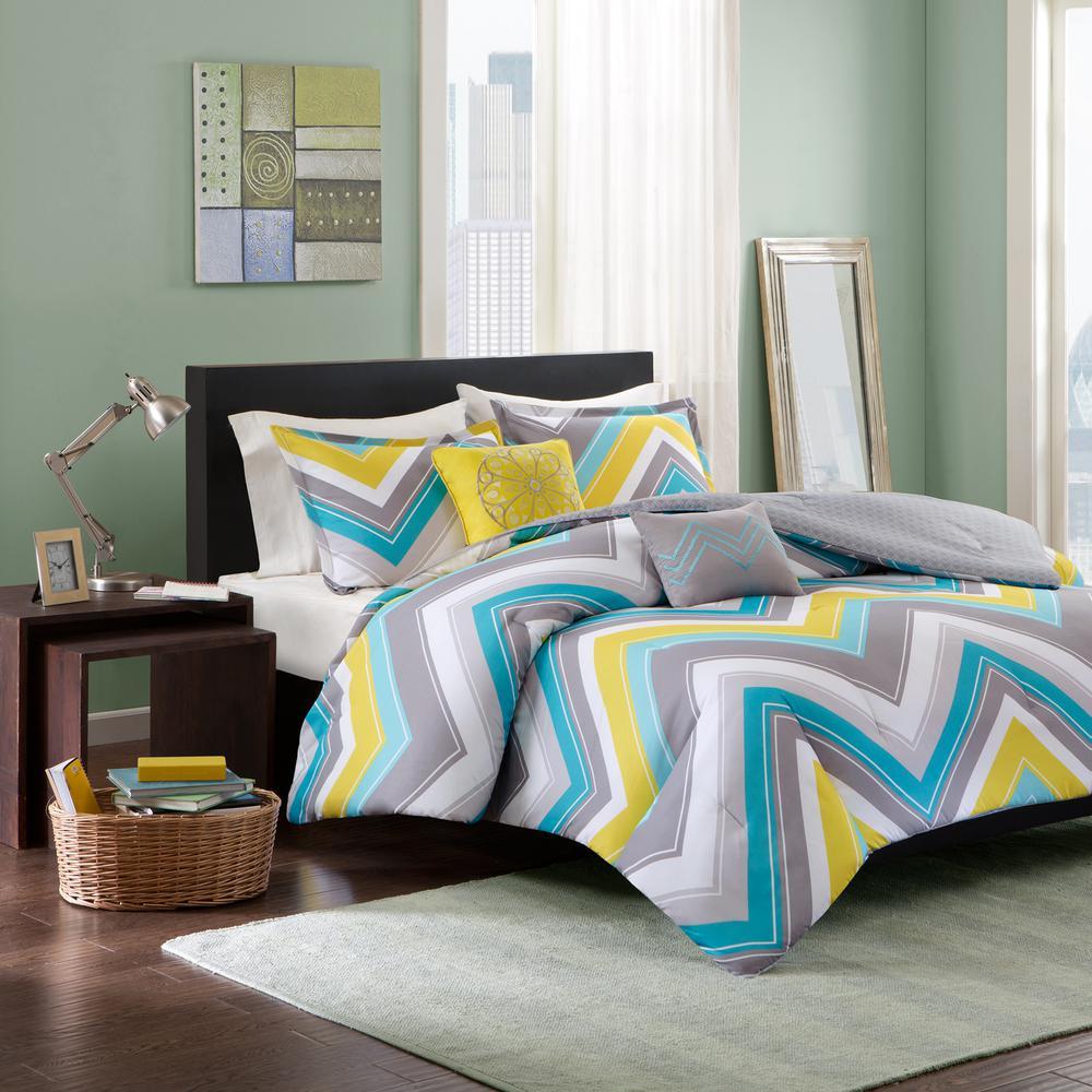 Intelligent Design Ariel 4 Piece Blue Twin Xl Geometric Comforter Set