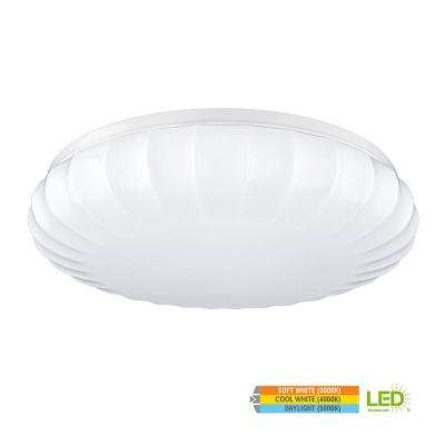 Carousel Style 11 in. Round White 60 Watt Equivalent Integrated LED Flush Mount with Color Temperature Changing Feature